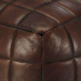 Fotoliu puf, maro închis, 40x40x40 cm, piele naturală de capră