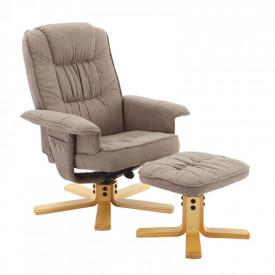 Fotoliu relaxant cu suport pentru picioare maro-gri GL LERATO