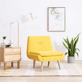 Fotoliu tapițerie material textil, 73 x 66 x 77 cm, galben