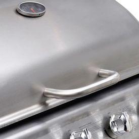 Grătar gaz BBQ cu 4+1 arzătoare, argintiu & negru