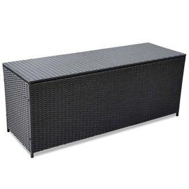 Ladă de depozitare pentru exterior din poliratan negru 150 x 50 x 60 cm
