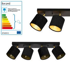 Lampa spot Wellington cu 4 abajururi, 58 x 12 x 20 cm, 4 x E14, 40W, metal/textil, negru/alama, pentru sufragerie, dormitor, bucatarie