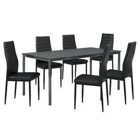 Masa bucatarie/salon design elegant - gri inchis (160x80cm) - cu 6 scaune negre elegante