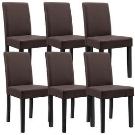 Masa eleganta Henni, MDF efect stejar - maro deschis,140 x 90 cm - cu 6 scaune imitatie de piele, maro cu picioare negre
