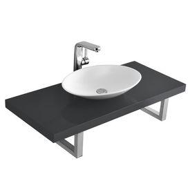 [neu.haus]® Set baie blat cu lavoar Elegance3, lavoar: 50 x 35,5 x 10 cm, blat:100 x 45 cm, ceramica/MDF/otel, alb/gri