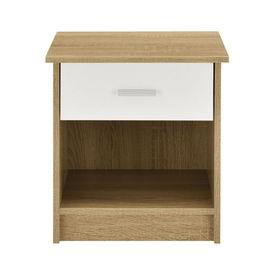 Noptiera cu sertar Delia, 38 x 36 x 30 cm, PAL, efect lemn stejar/alb