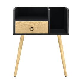 Noptiera cu sertar Dodo, 64 x 50 x 36 cm, PAL, negru/efect lemn