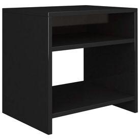 Noptieră, negru lucios, 40 x 30 x 40 cm, PAL