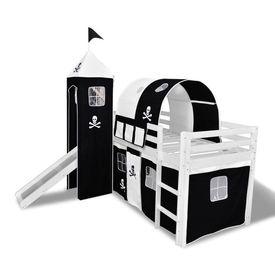 Pat etajat pentru copii, cu tobogan și scară lemn, negru și alb