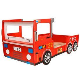 Pat pentru copii mașină de pompieri 200 x 90 cm, roșu