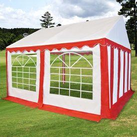 Pavilion de grădină PVC 3 x 4 m, Roșu și Alb