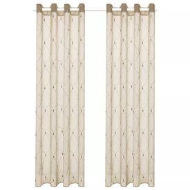 Perdele transparente cu broderie, 2 buc., 140 x 225 cm, bej
