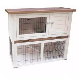 @Pet Cușcă pentru iepuri Kiki, alb și maro, 92 x 45 x 80 cm, 20077