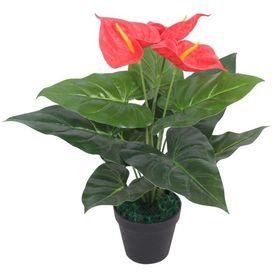 Plantă artificială Anthurium cu ghiveci, 45 cm, roșu și galben