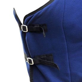 Pled din lână cu cingătoare 125 cm, albastru