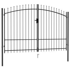 Poartă de gard cu ușă dublă, vârf ascuțit, negru 3x1,75 m oțel