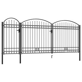 Poartă de gard de grădină cu arcadă, negru, 2,5 x 5 m, oțel