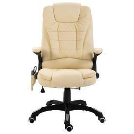Scaun de birou cu masaj, crem, piele ecologică