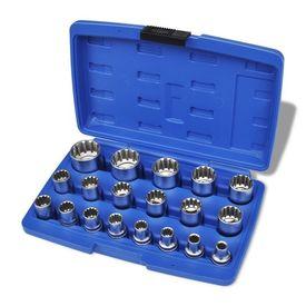 Set chei tubulare bihexagonale cu carcasă de depozitare, 19 piese