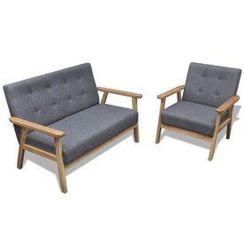 Set cu canapea, 2 piese, material textil, gri deschis