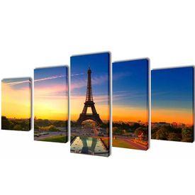 Set de tablouri imprimate pe pânză Turnul Eiffel 100 x 50 cm