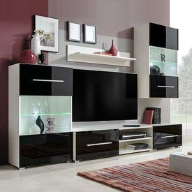 Set mobilier de perete pentru TV cu iluminare LED, 5 piese, negru
