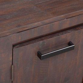 Set mobilier de sufragerie, 6 piese, lemn masiv acacia, fumuriu