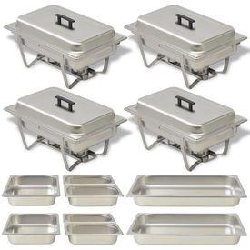 Set vase încălzire mâncare, 4 piese, oțel inoxidabil