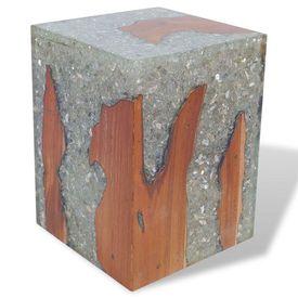 Taburet din rășină și lemn de tec, 30 x 30 x 40 cm