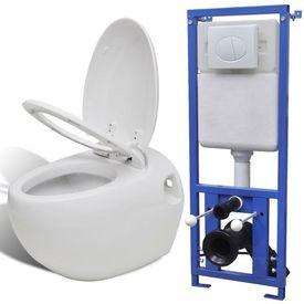 Toaletă suspendată cu rezervor încastrat, aspect ou, ceramică, alb
