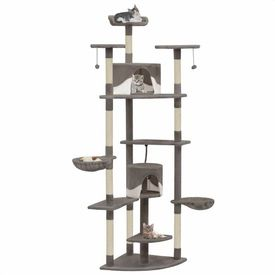 vidaXL Ansamblu pisici cu stâlpi din funie de sisal 203 cm, Gri și Alb