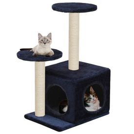 vidaXL Ansamblu pisici, stâlpi din funie sisal, 60 cm, bleumarin