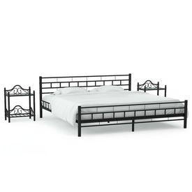 vidaXL Cadru de pat cu 2 noptiere, negru, 140 x 200 cm, metal