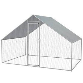 vidaXL Coteț păsări de exterior, oțel galvanizat, 3x2x2 m