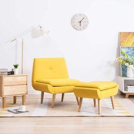 vidaXL Fotoliu cu suport picioare, tapițerie material textil, galben