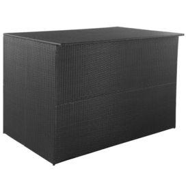 vidaXL Ladă depozitare exterior, poliratan, 150x100x100 cm, negru