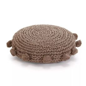vidaXL Pernă pardoseală rotundă tricotată, bumbac 45 cm, maro