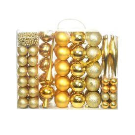 vidaXL Set globuri de Crăciun 113 piese, 6 cm Auriu