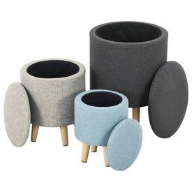 vidaXL Set scaune cu depozitare, 3 piese, material textil, rotund