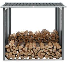 vidaXL Șopron depozitare lemne, oțel galvanizat, 172x91x154 cm, gri