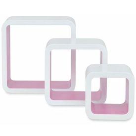 3 Rafturi de tip cub din MDF pentru cărți/DVD-uri, Alb-Roz