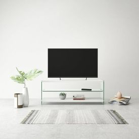 Comodă TV din sticlă și MDF, lucioasă, alb