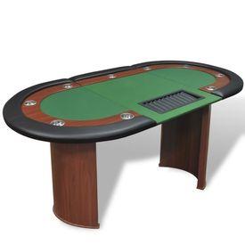 Masă poker 10 persoane, zonă dealer și suport jetoane, verde