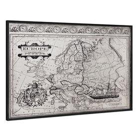 Design fotografie de perete pe placa de aluminiu Modell 1 - Harta Europei, 80x120x3,8cm, cu rama lemn