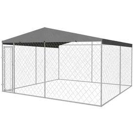 Adăpost exterior cu acoperiș pentru câini, 400 x 400 cm