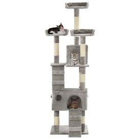 Ansamblu pentru pisici cu stâlpi funie sisal, 170 cm, gri