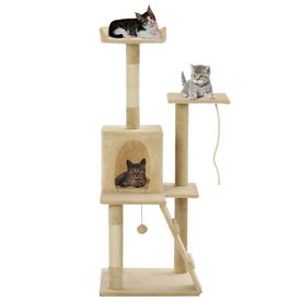 Ansamblu pisici, stâlpi din funie de sisal, 120 cm, bej