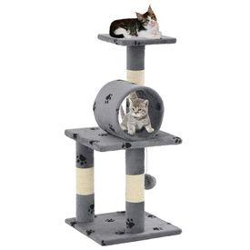 Ansamblu pisici, stâlpi funie sisal, 65 cm imprimeu lăbuțe, gri