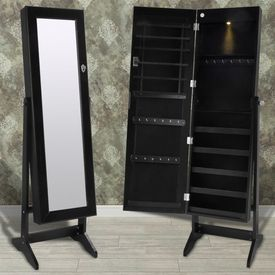 Cabinet negru pentru bijuterii cu suport, oglindă și lampă LED