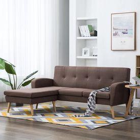 Canapea în formă de L, maro, 186x136x79 cm, tapițerie textilă